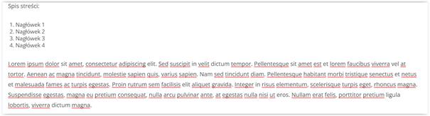 gutenberg spis treści instrukcja