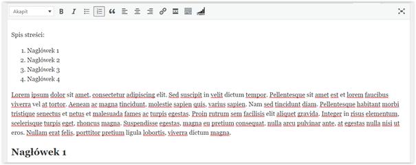 spis treści edytor klasyczny wordpress