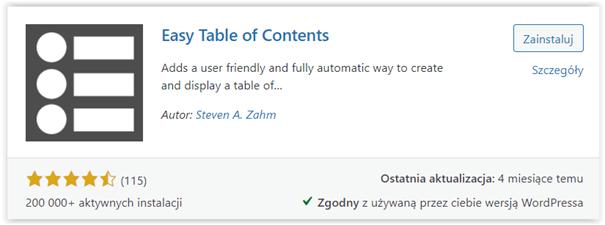 spis treści wtyczka table of contents